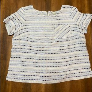 Talbots Plus Size Blue Striped pocket tee, X